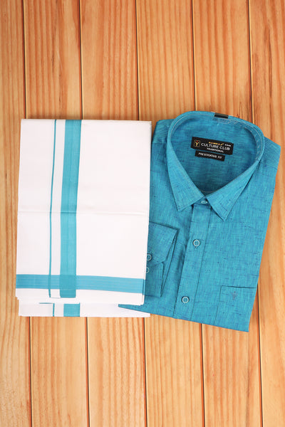 Sky blue shirt with matching  dhothi - rajmahalsilk