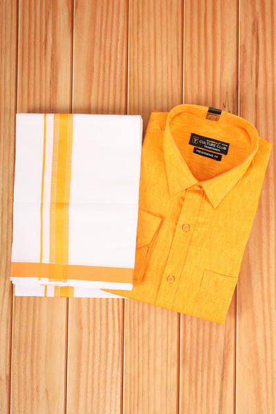 Orangish yellow shirt with matching  dhothi - rajmahalsilk