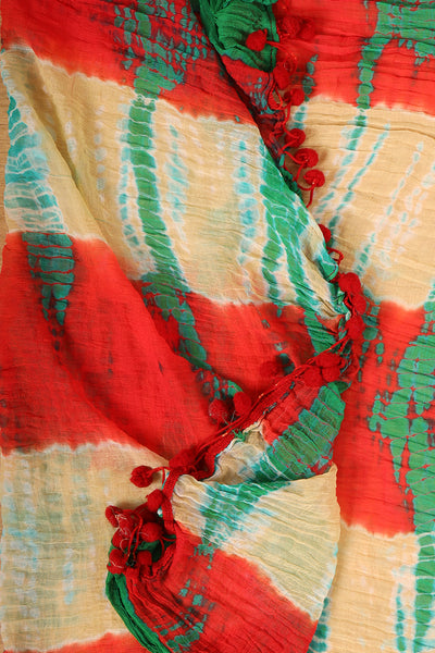 Sandle,red, green sades bandhini duppata - rajmahalsilk