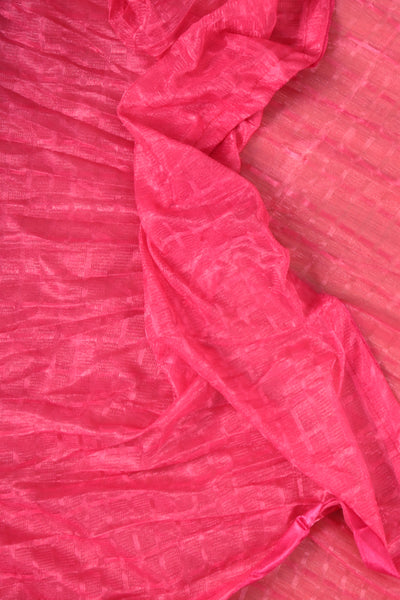 Pink synthesic net  duppata - rajmahalsilk