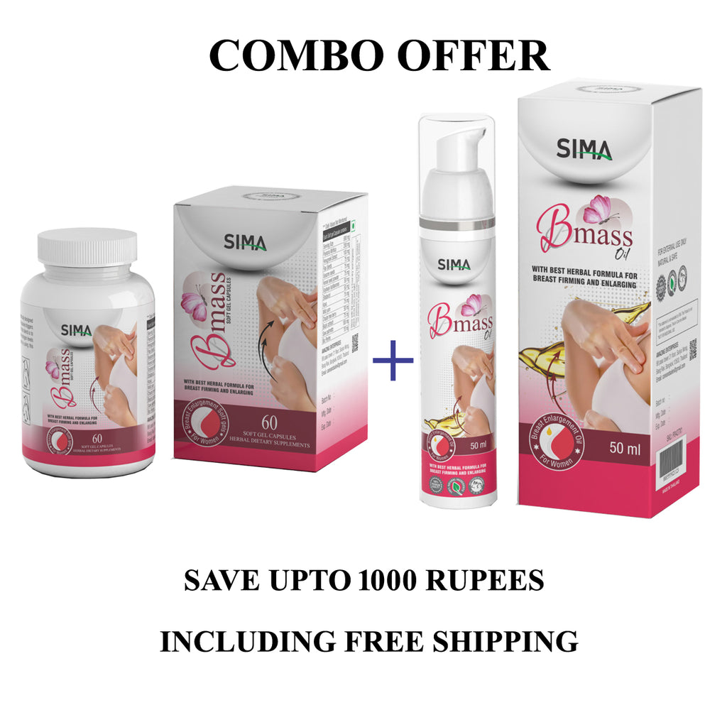 SIMA Bmass soft gel 60 Capsules + Bmass Oil with best herbal formula