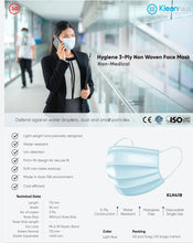 Load image into Gallery viewer, [KLH418] Hygiene 3-Ply Non Woven Face Mask - 40 Pcs/Bag