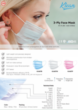 Load image into Gallery viewer, [KLH617W] 3-Ply Face Mask | 99.9% BFE - 50 Pcs/Box