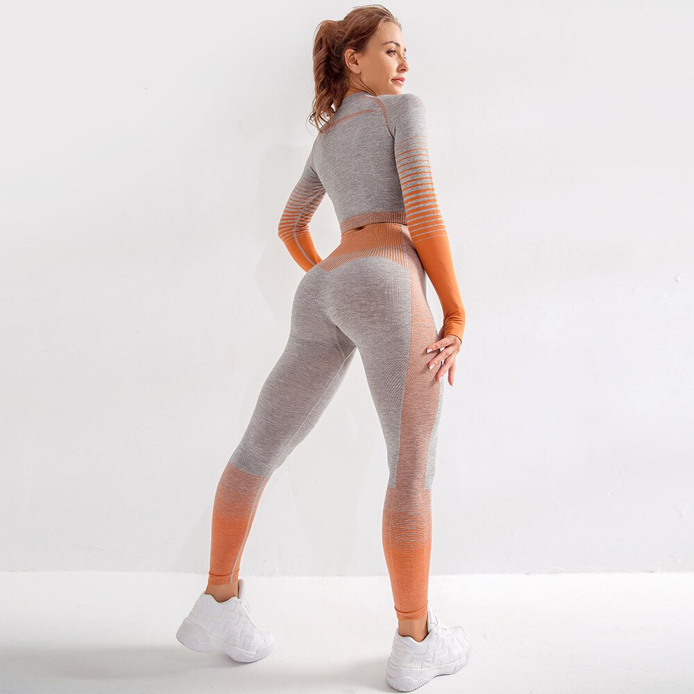 2 Piece Long Sleeve Ombre Yoga Set