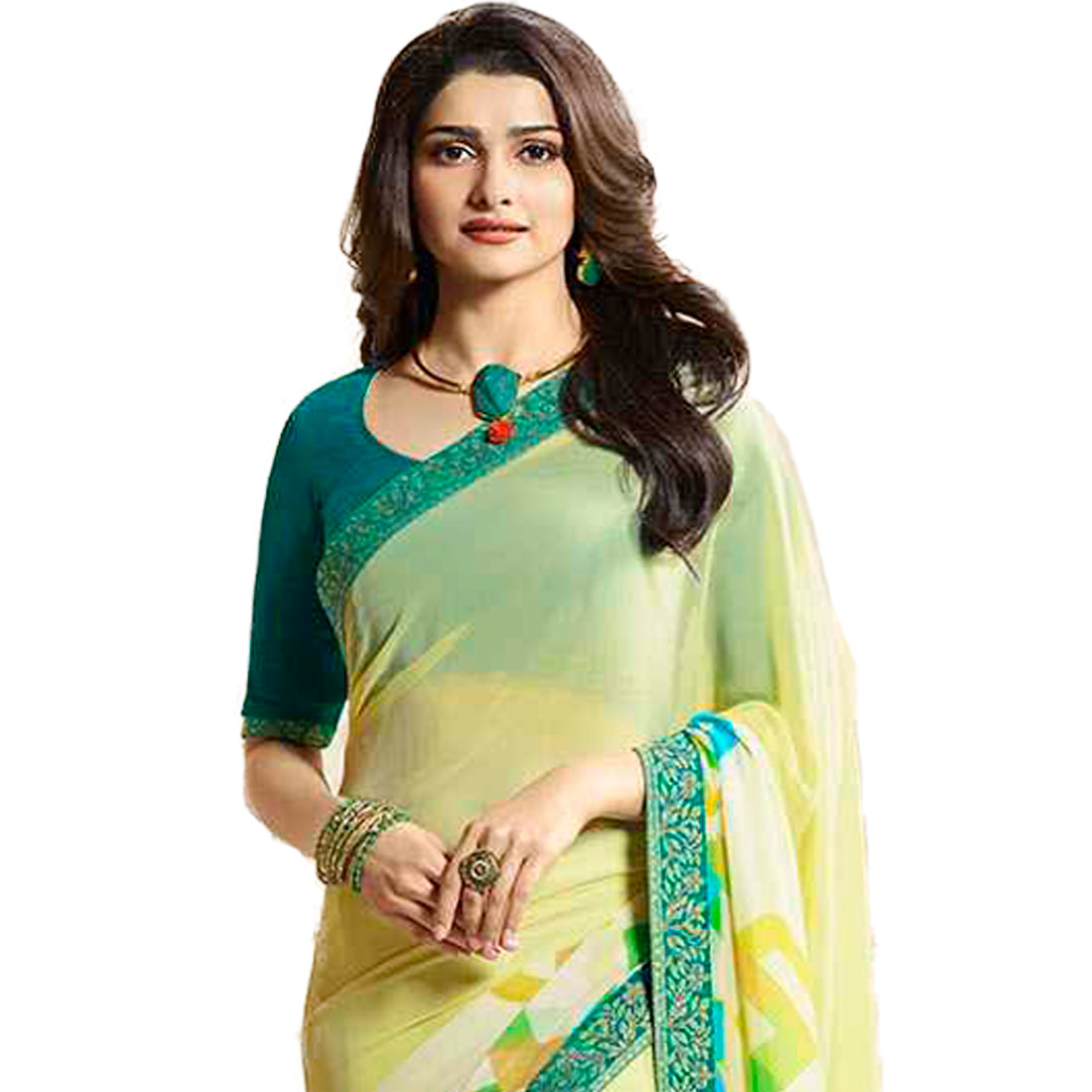 Yellow Georgette Printed Designer Saree