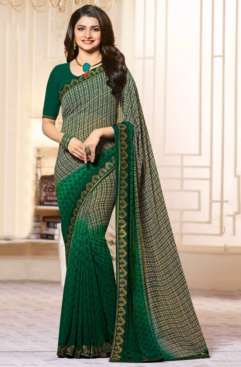 Dark Green Georgette Printed Designer Saree