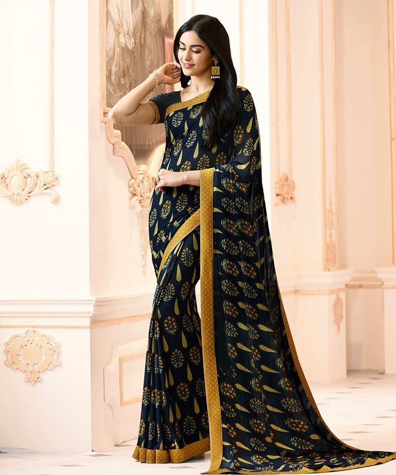 Dark Blue-Yello Georgette Printed Designer Sari