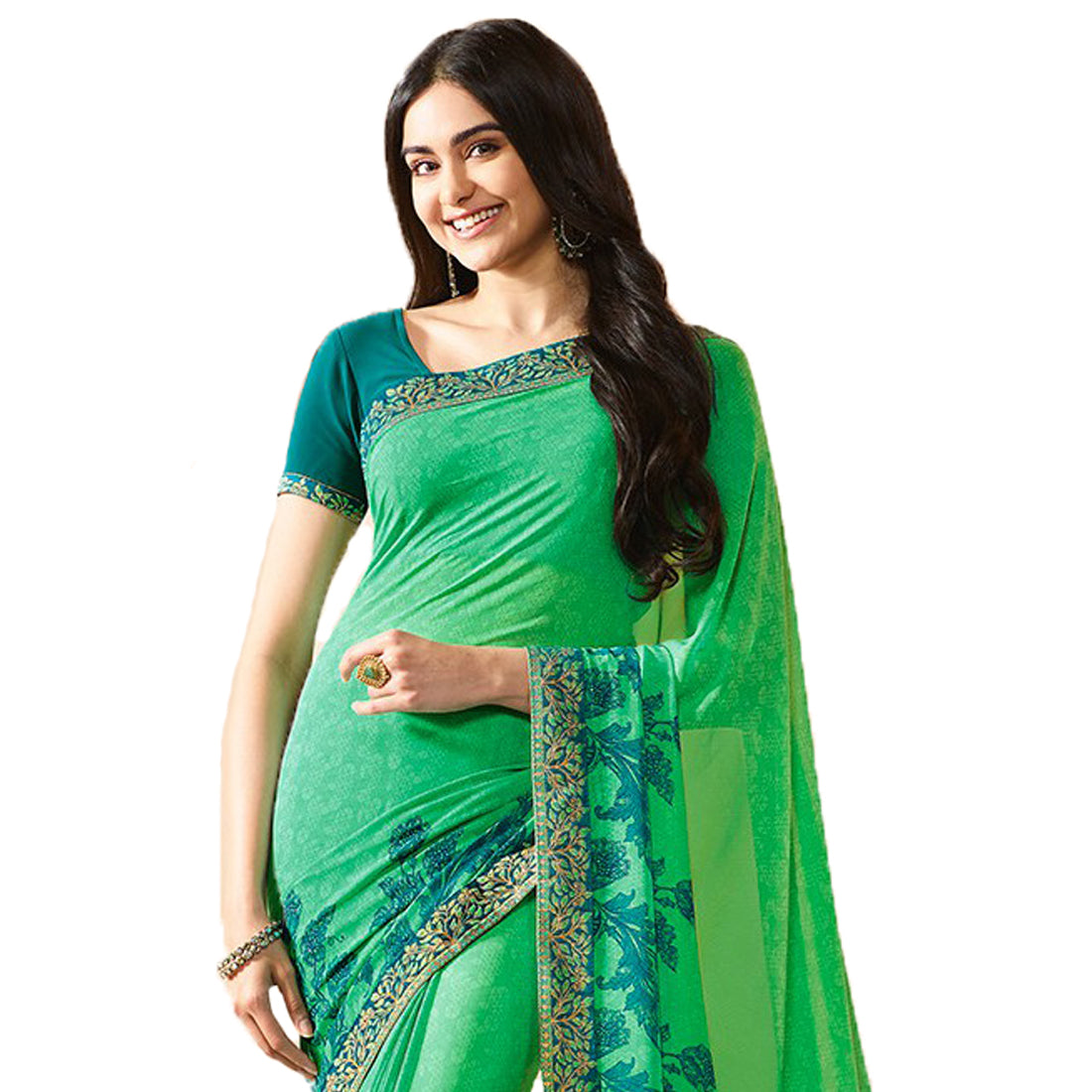 Light Green Georgette Printed Designer Sari