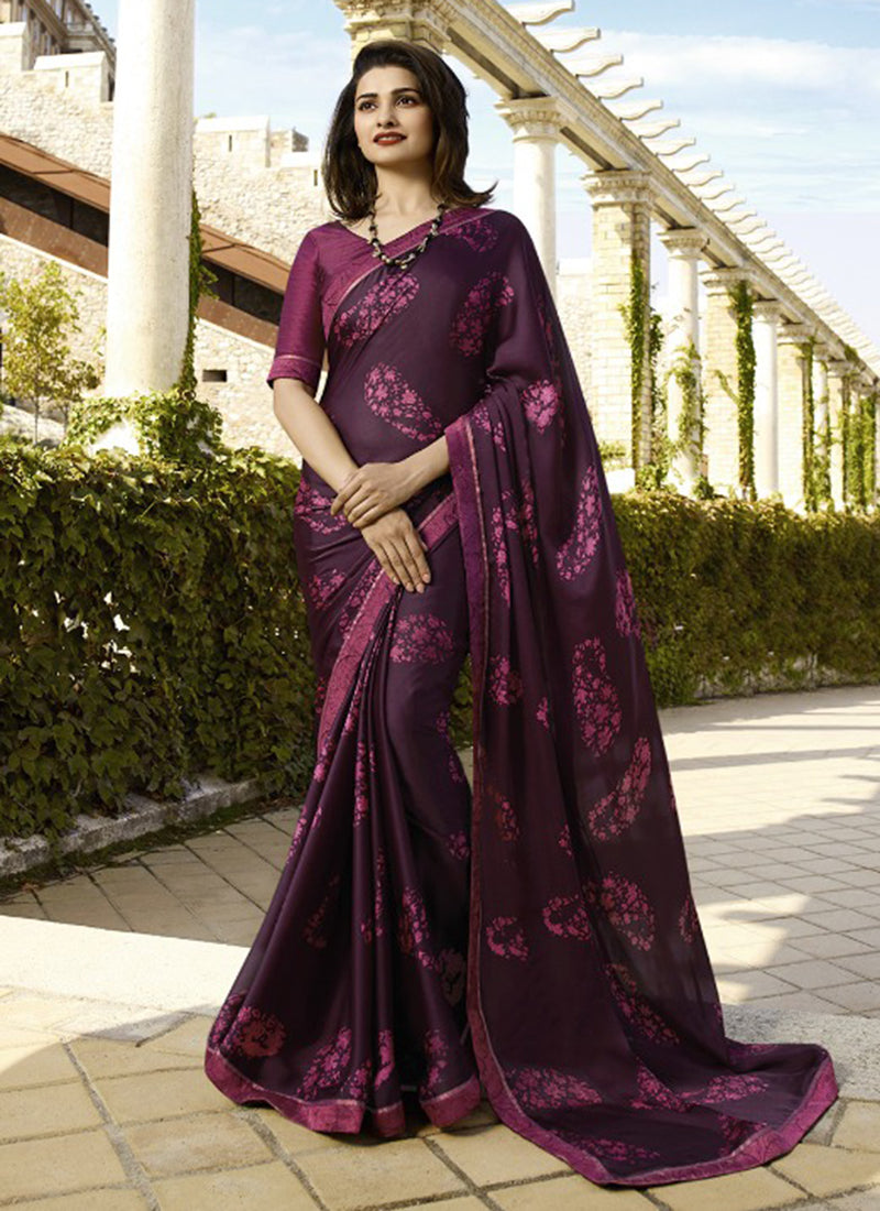Wine Rangoli silk Printed Designer Saree