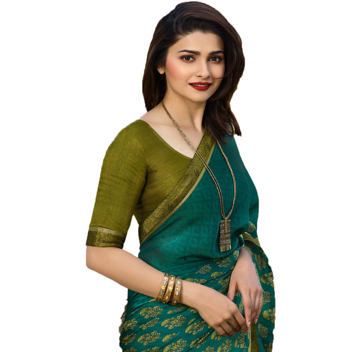 Green Rangoli silk Printed Designer Saree
