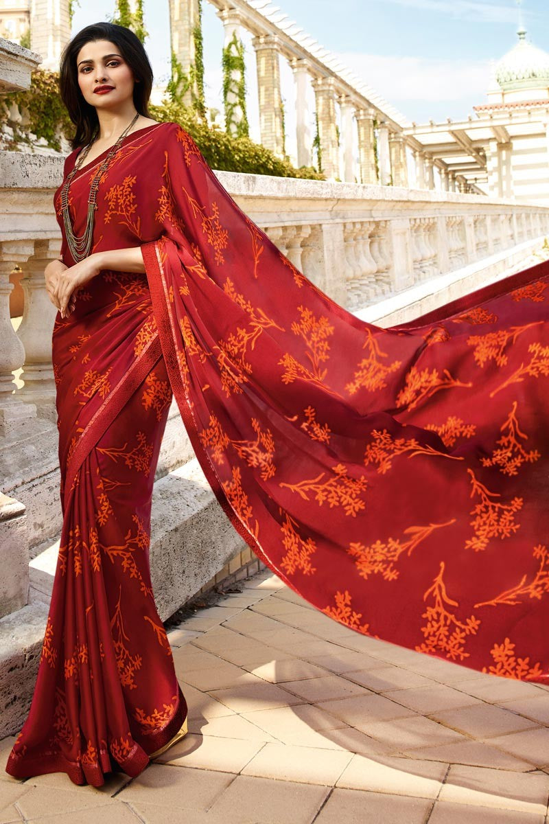 Red Rangoli Silk Printed Designer Saree