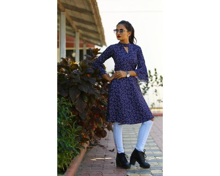 Navy Blue Poly Rayon Tunic Western Wear