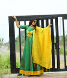 Green Tapeta Buti Gown With Chanderi Dupatta