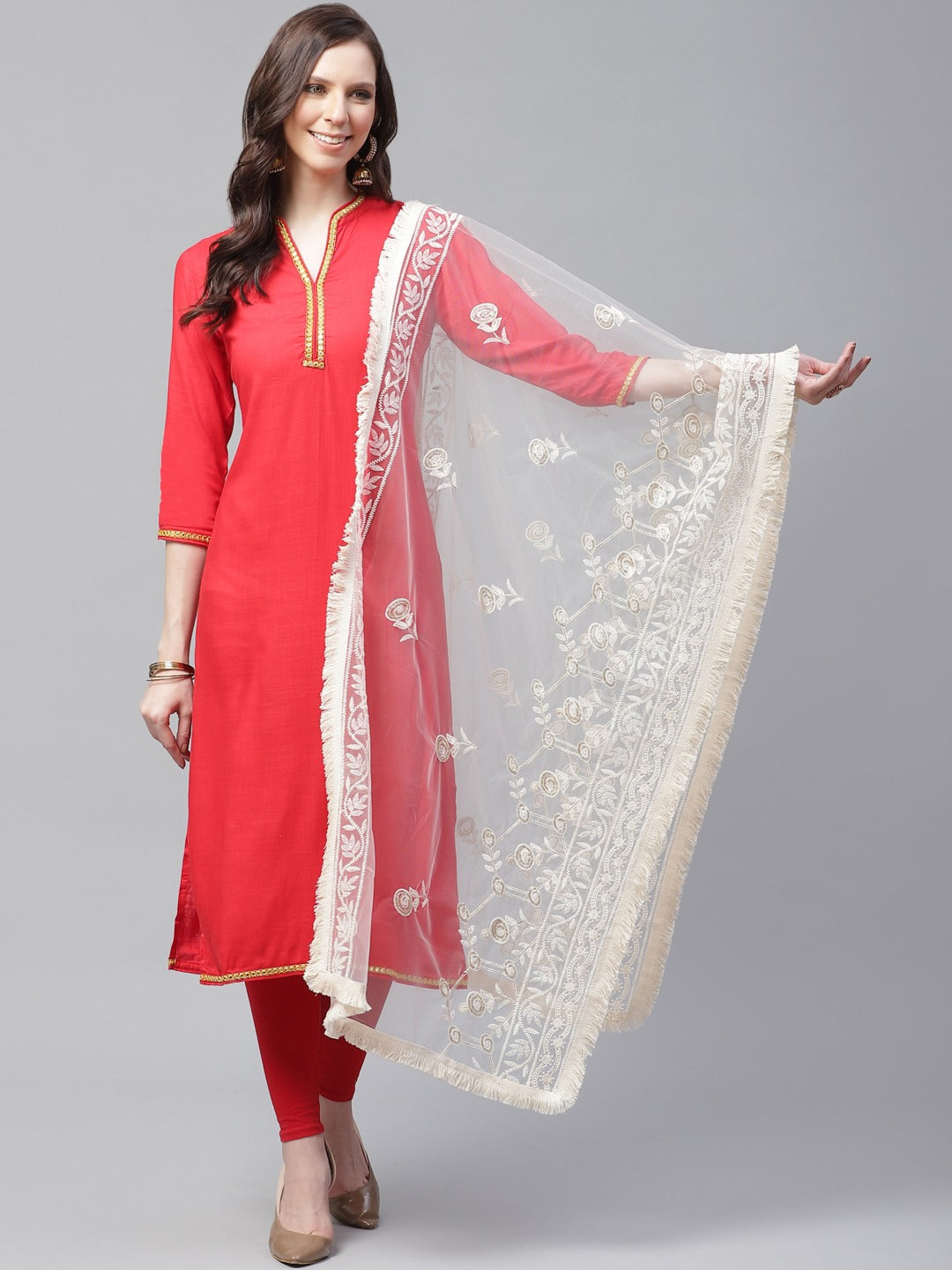 Creme Embroidery Net Lucknow Dupatta