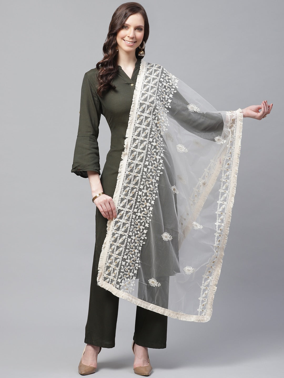 Creme Embrodary Net Lucknow Dupatta
