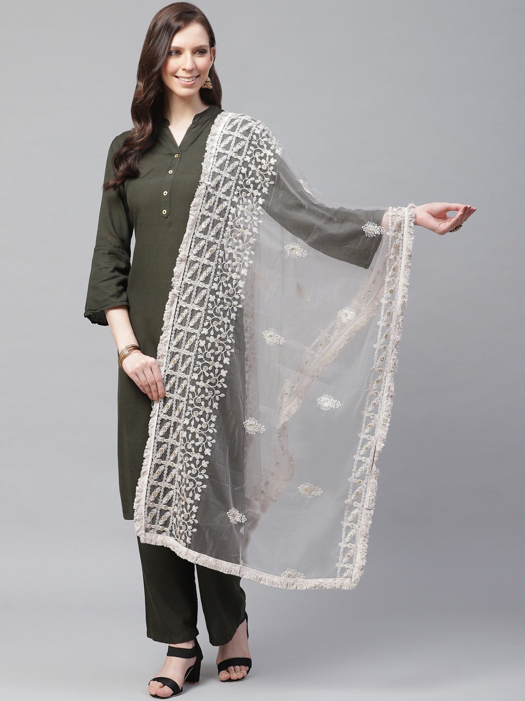 Grey Embrodary Net Lucknow Dupatta