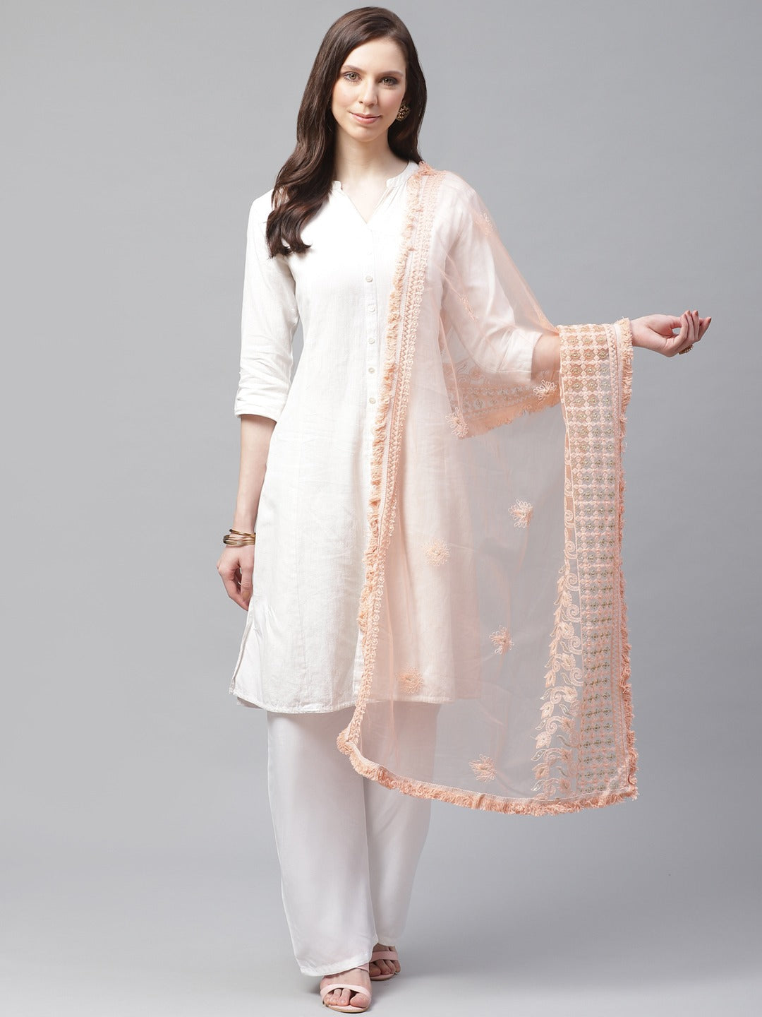 Peach Embrodary Net Lucknow Dupatta