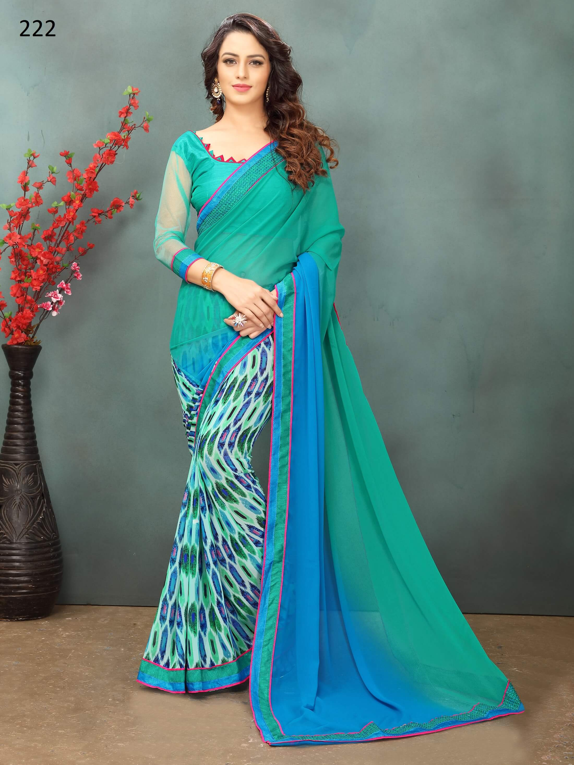 Turquoise Green Georgette Embroidery Work sari