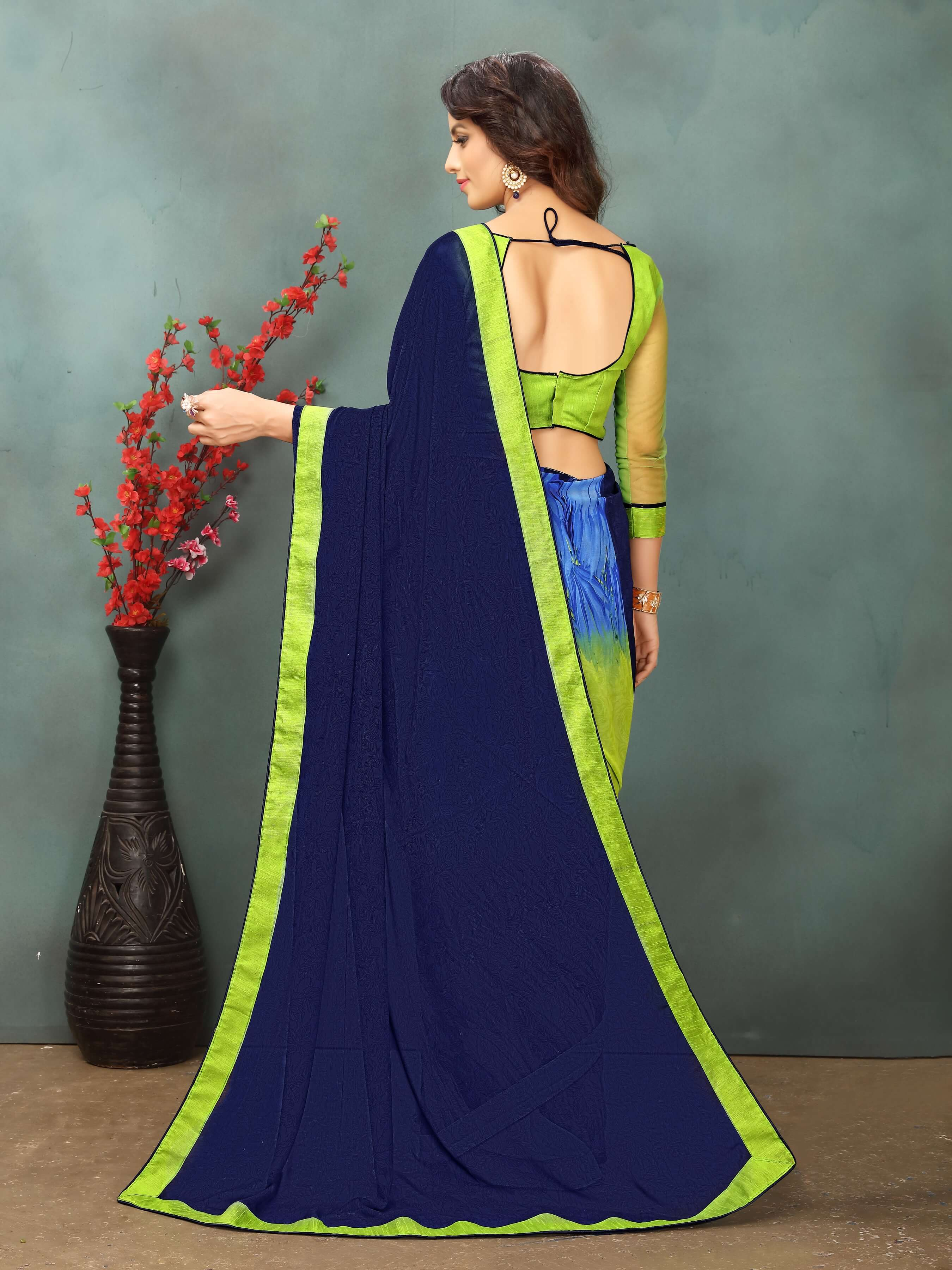 Navy Blue Georgette Embroidery Work sari