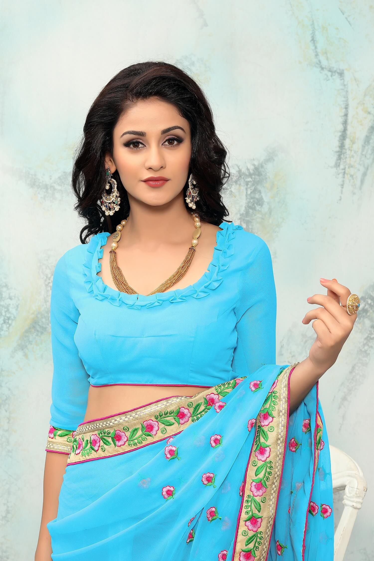 Sky Blue Georgette Embroidery Work sari