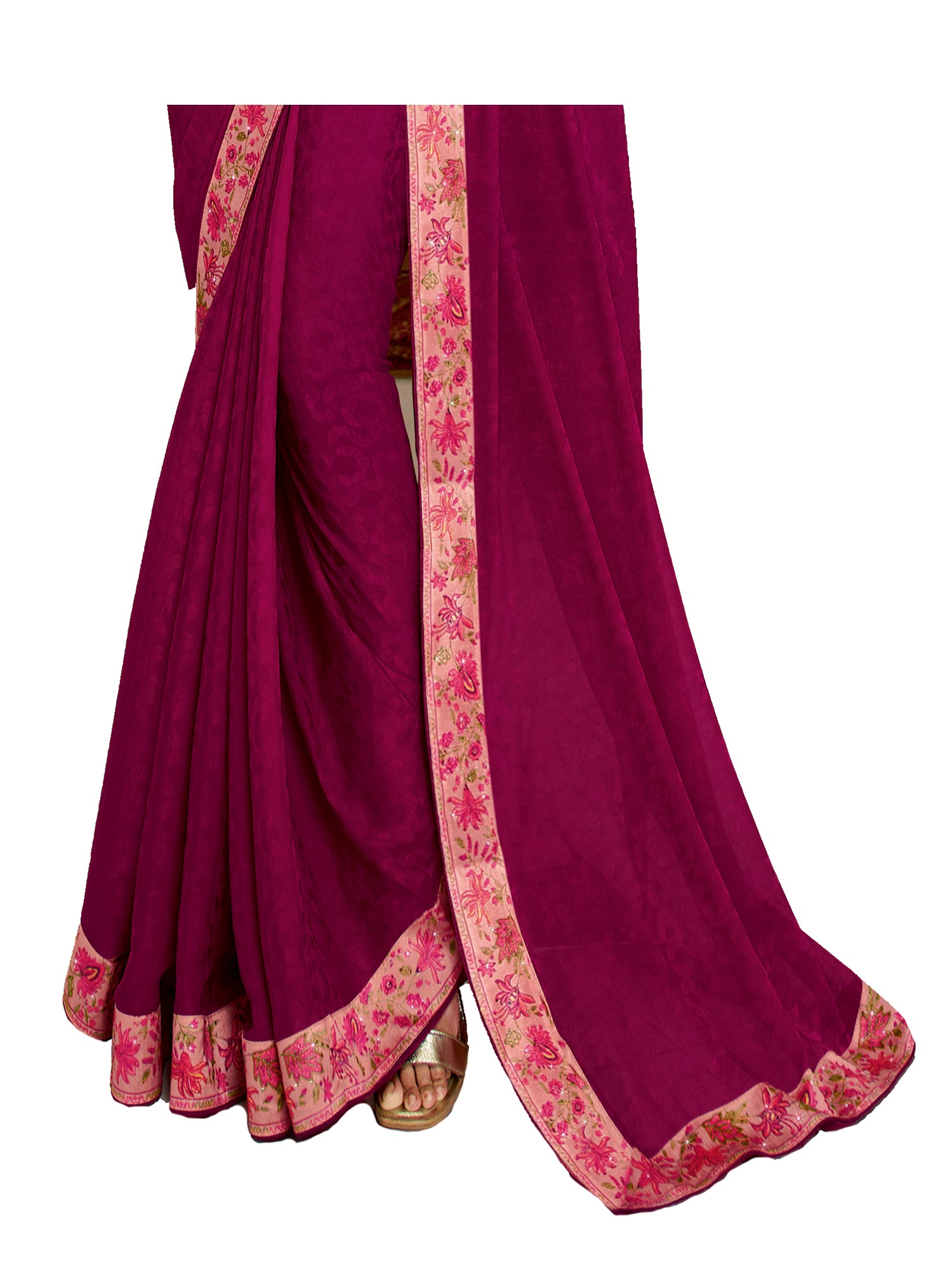Pink Vichitra Silk Printed Designer Saree