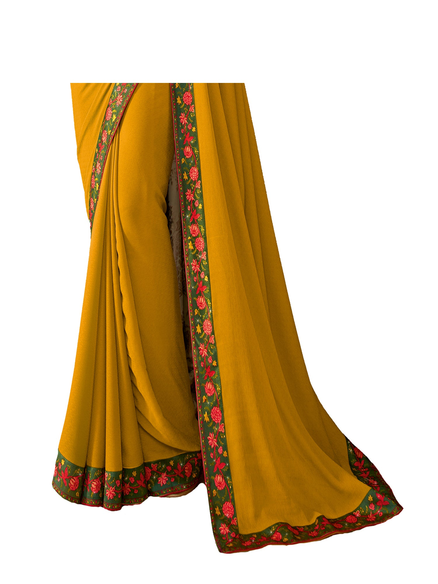 Yellow Vichitra Silk Printed Designer Saree