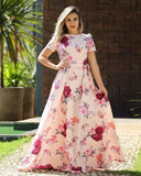 Opulent Peach Colored Partywear Cape Sleeve Floral Printed Crepe Maxi Dress