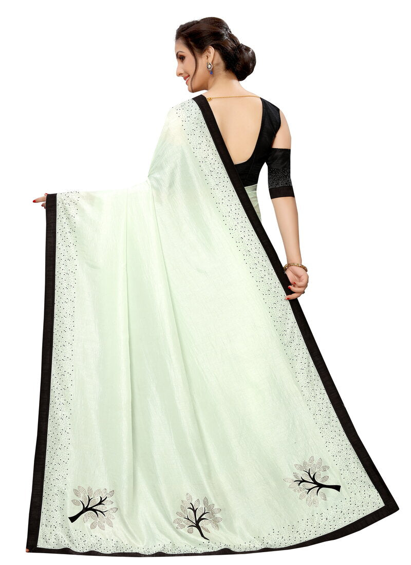 Light Green Hand Work Designer Saree With Stone Border