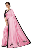 Pink Hand Work Designer Saree With Stone Border