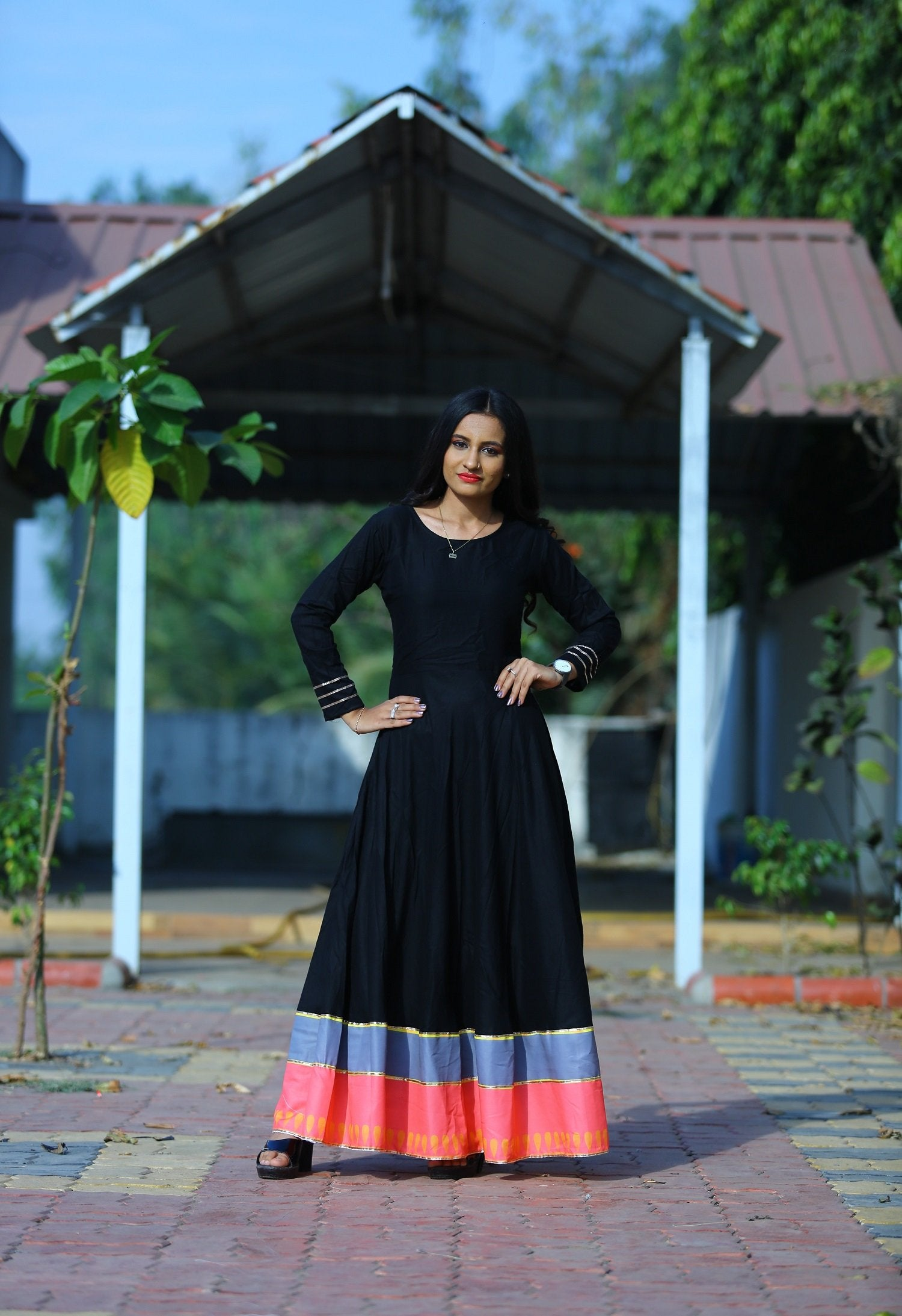 Awesome Black Heavy Rayon Designer Gown