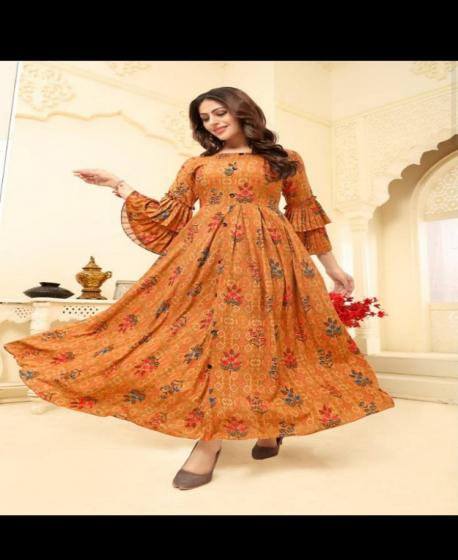 Adorable Orange Digital Printed Designer Gown
