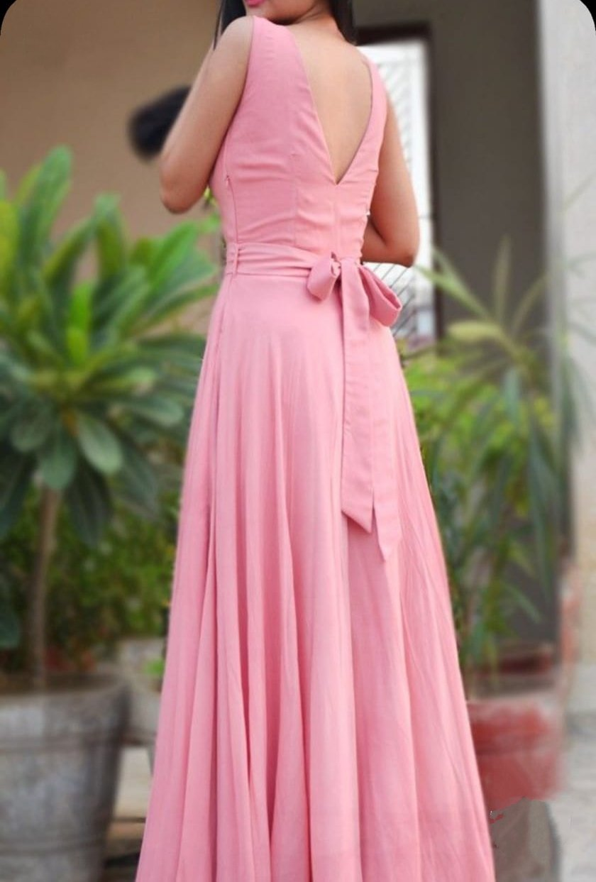 Adorable Baby Pink Tapeta Silk Designer Gown