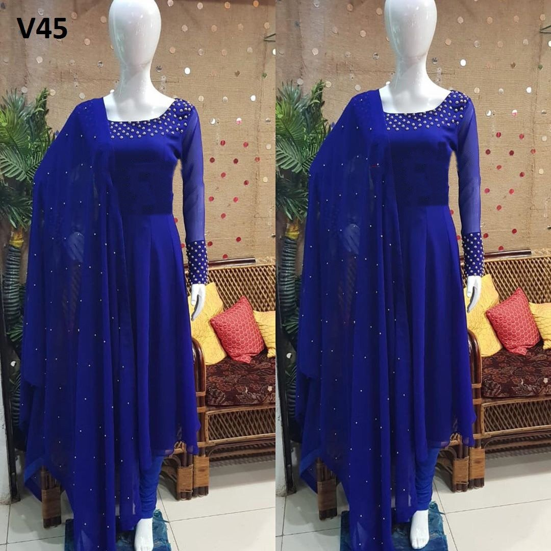 Adorable Royal Blue Colored Partywear Pearl Work Stitched Georgette Churidar Suit
