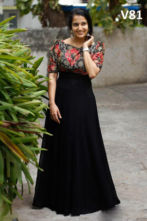 STYLISH BLACK COLORED PARTYWEAR JACQUARD GEORGETTE GOWN