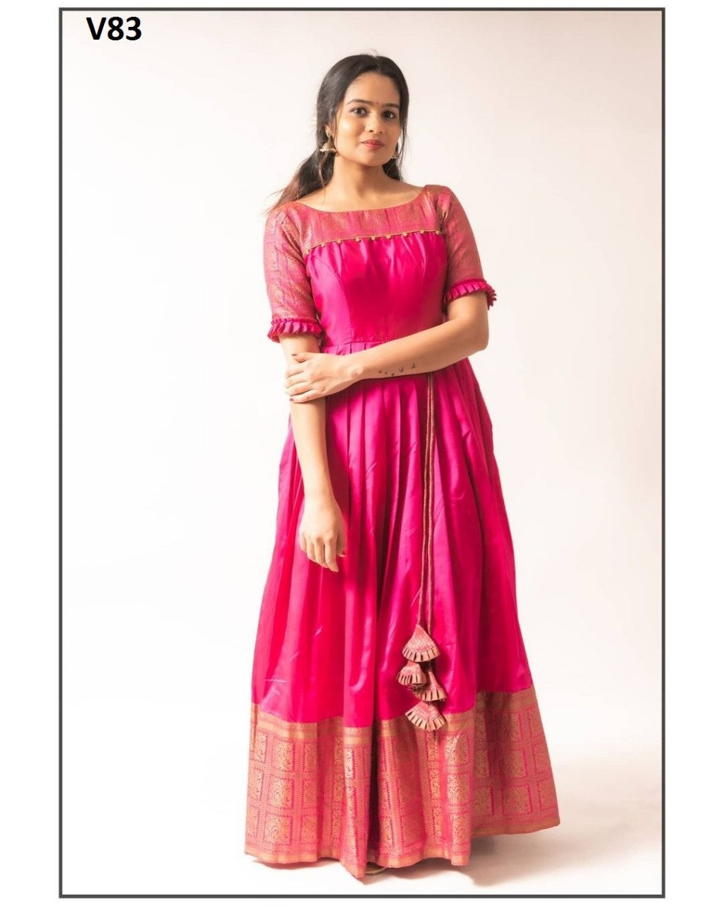 ADORABLE PINK COLORED PARTYWEAR PRINTED LESS JACQUARD AND TAPETA TRENDY GOWN