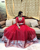 STYLISH MAROON COLORED PARTYWEAR CUT WORK ORGENZA GOWN