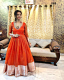 STYLISH PARROT ORANGE COLORED PARTYWEAR CUT WORK ORGENZA GOWN