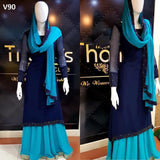 GORGEOUS NAVY BLUE COLORED PARTYWEAR DIAMOND WORK STITCHED GEORGETTE SUIT WITH DUPATTA