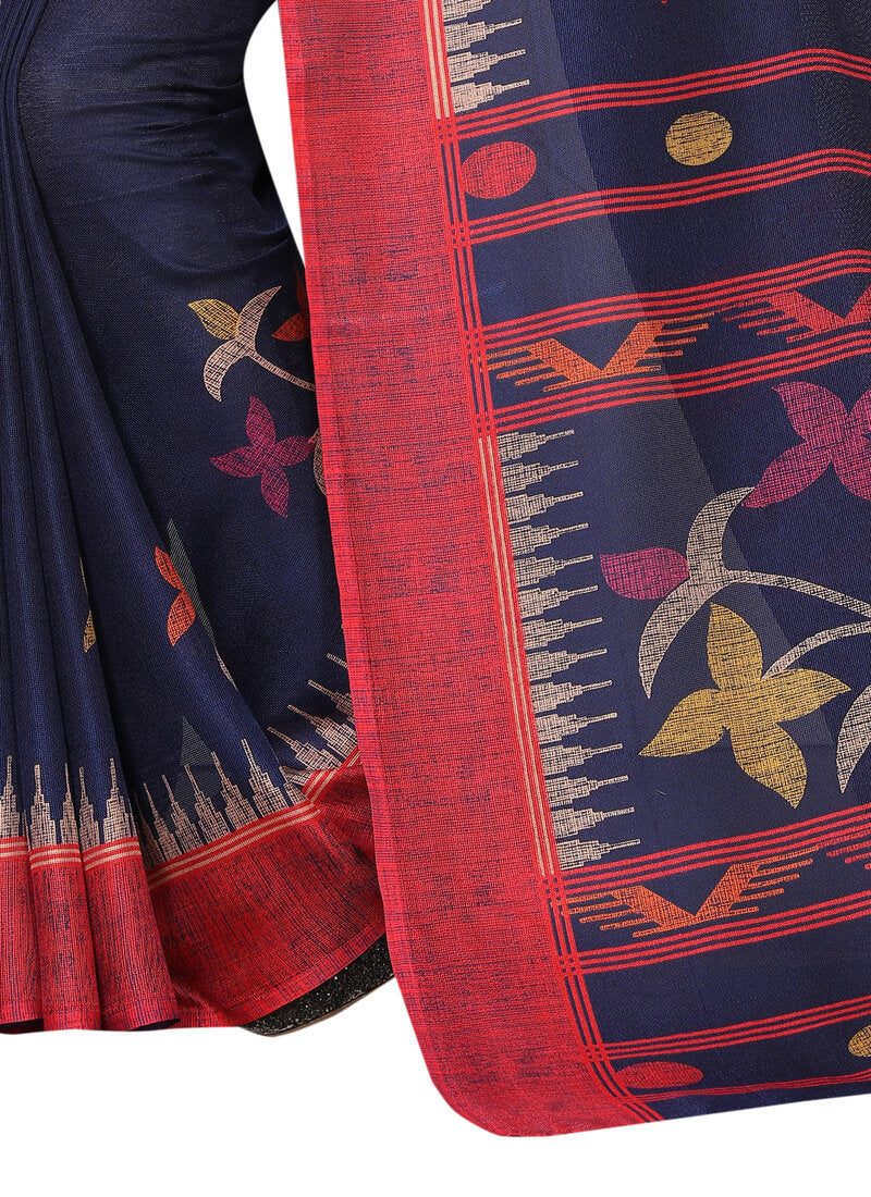 Dark Blue Printed Designer Saree