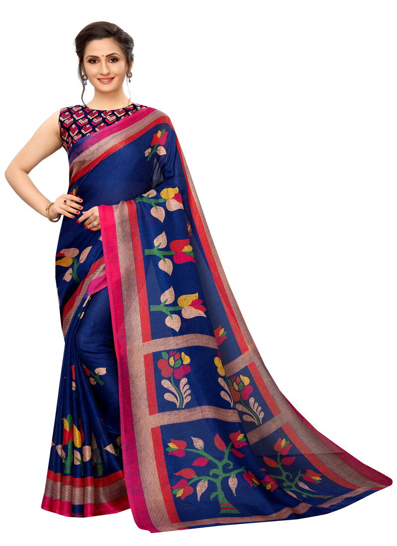 Nevy Blue Printed Designer Saree