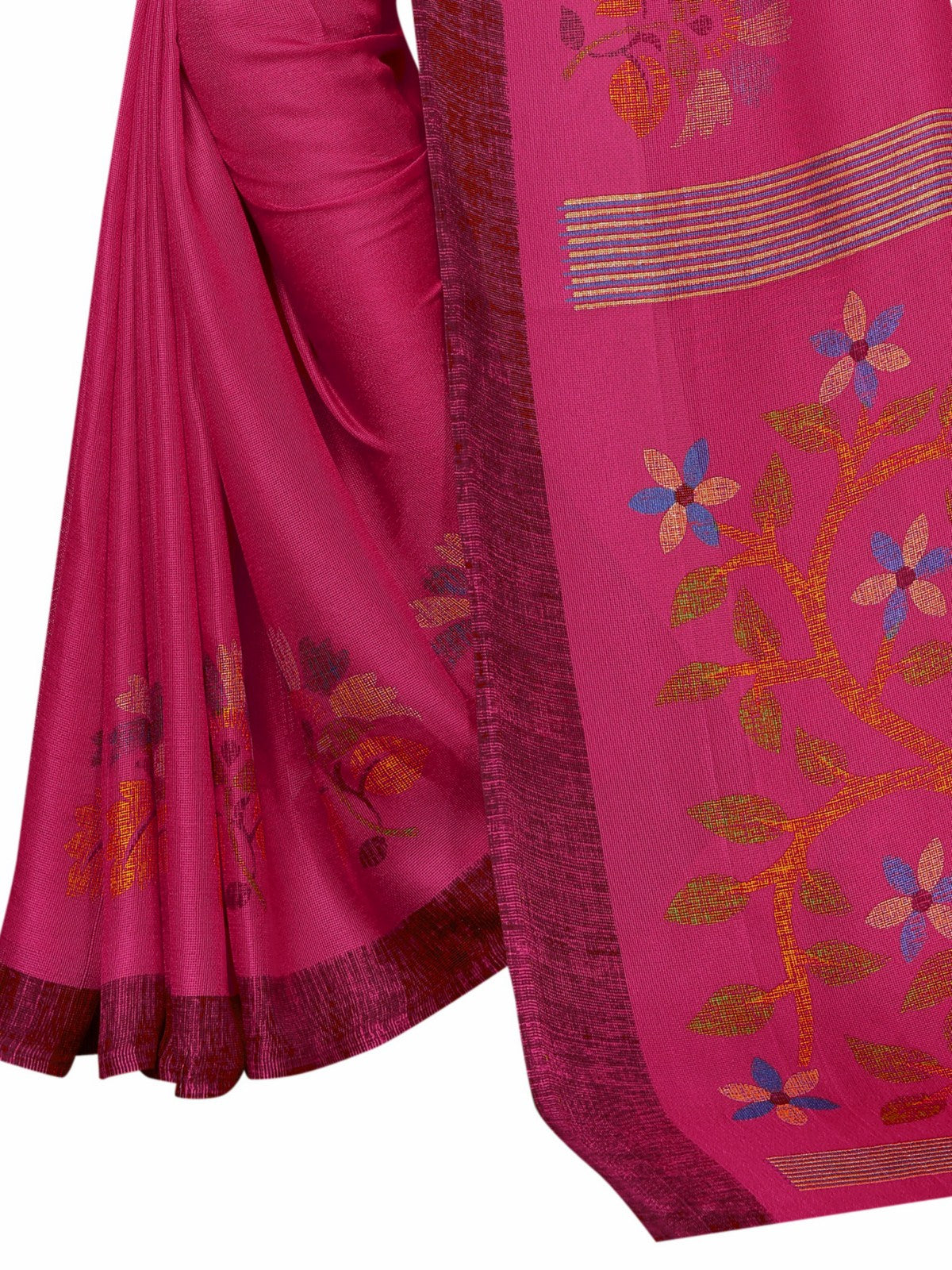 Dark Pink Soft Cotton Printed Designer Sari