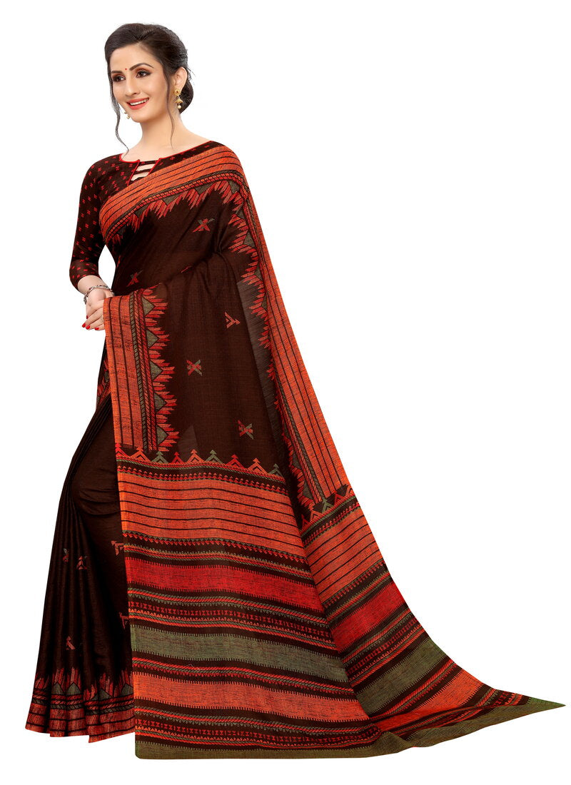 Dark Brown Soft cotton Printed Designer Saree