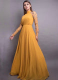 Stunning Mustard-Colored 8 Meter Flared Maxi Gown With Embellished Sleeves