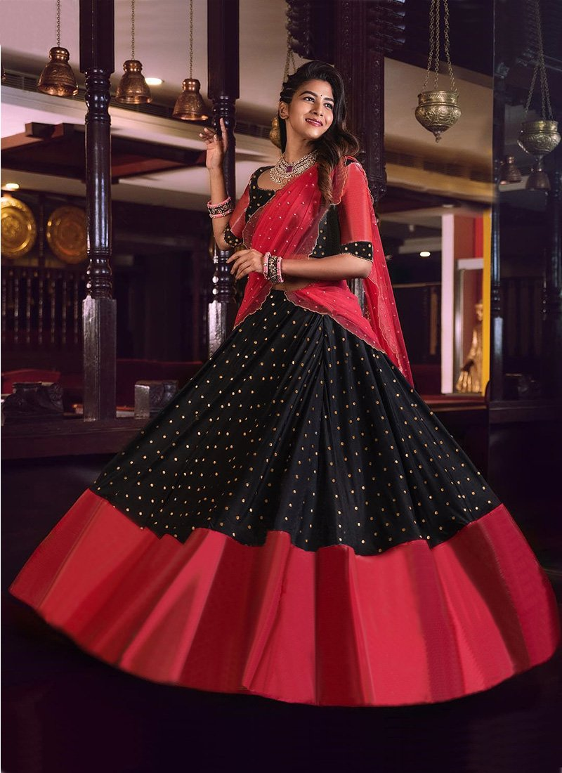 Designer Wear Black Lehenga Choli Along With Moti Work Dupatta