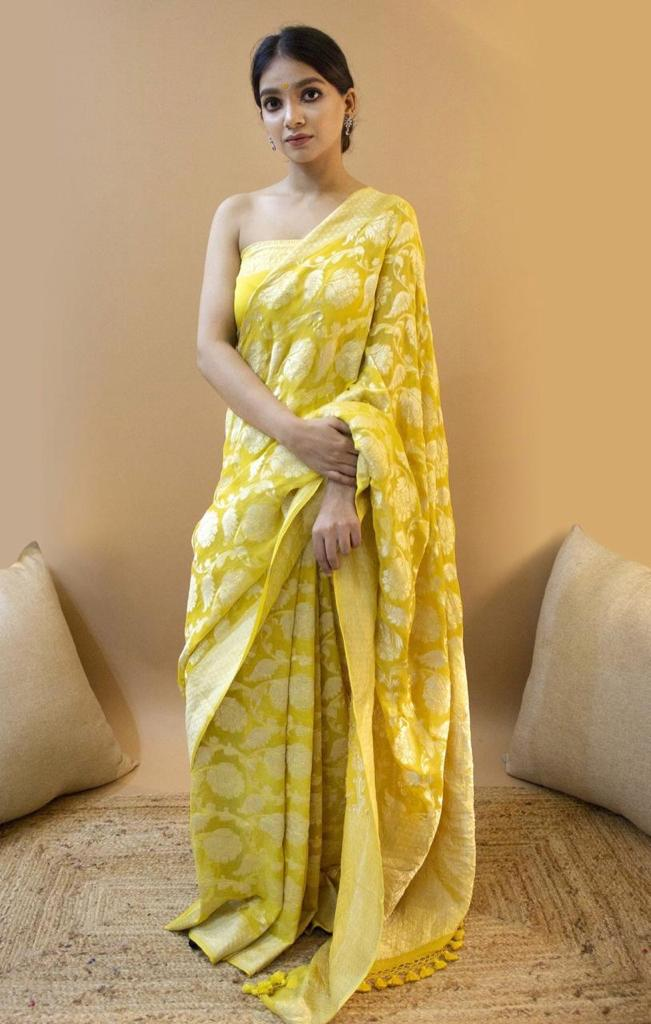 Banaras Yellow Lichi Silk Saree