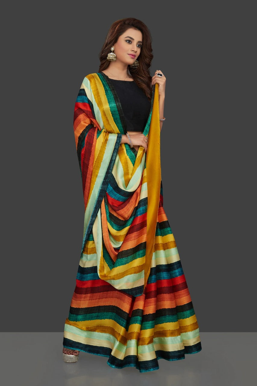 Colorful Patta Design of Japan Satin Saree