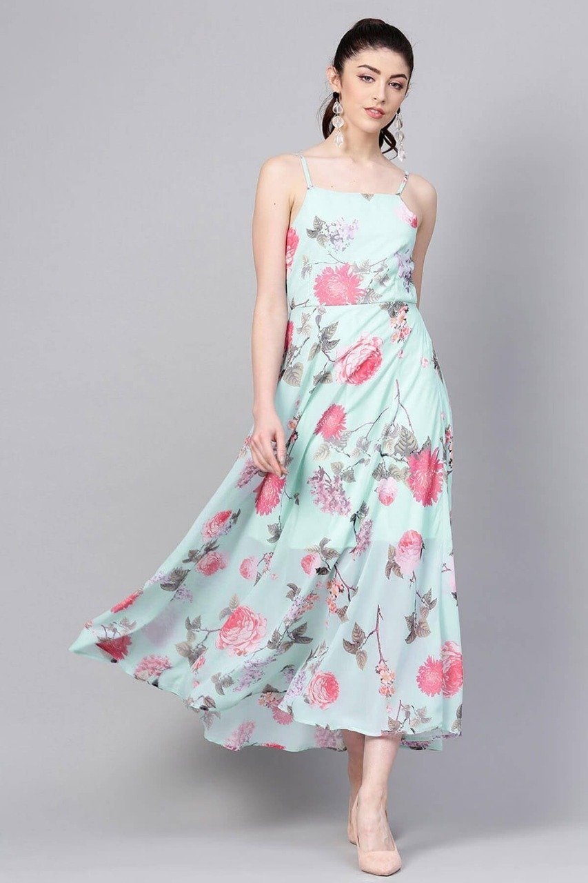 Trendy Cyan Floral Printed Georgette Maxi Dress