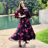 Exclusive Trendy Look Red Rose Floral Maxi Digital Printed Designer Maxi Gown