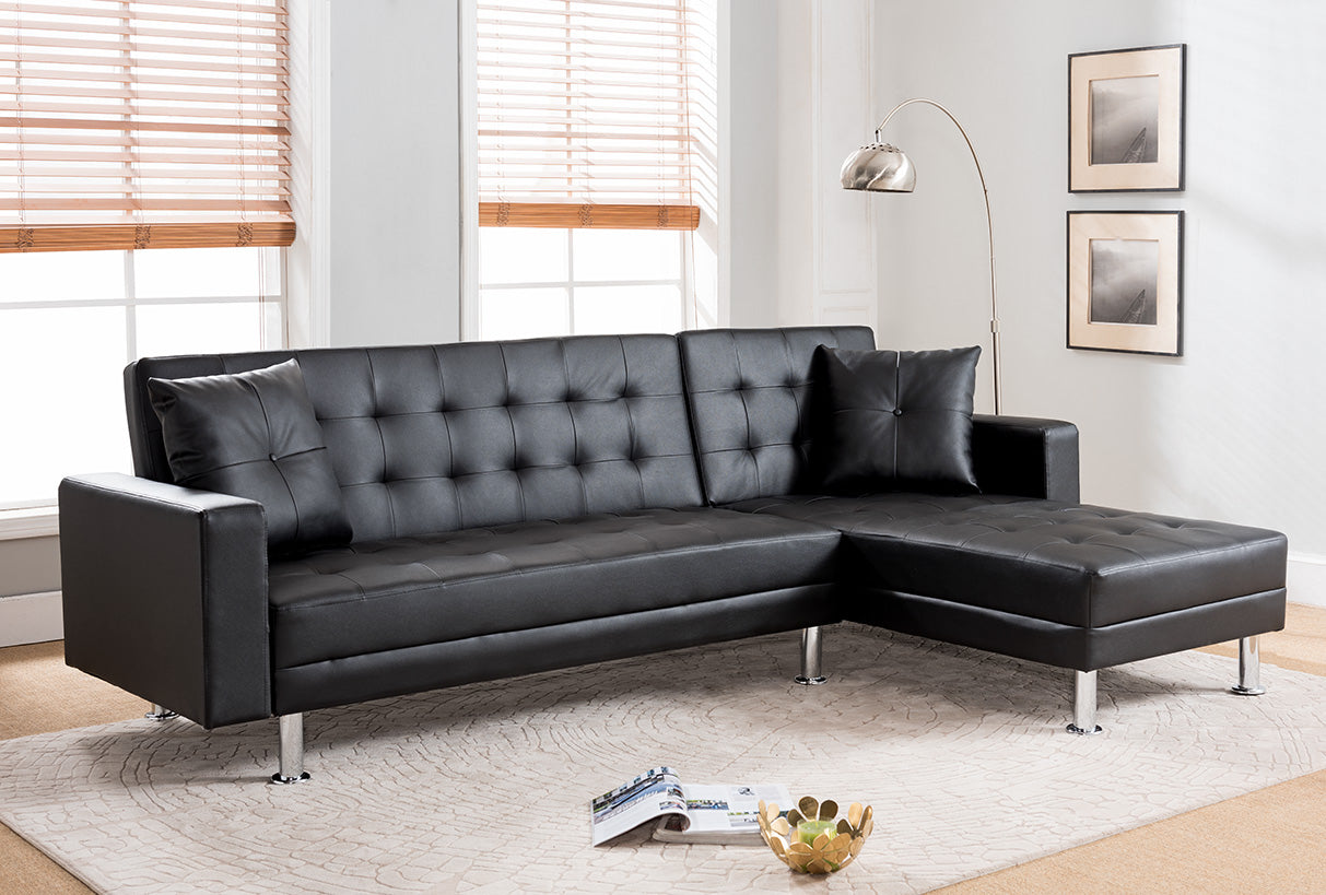 BLACK Tufted Faux Leather Sectional Sofa Bed