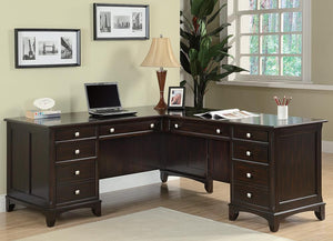 Open image in slideshow, Garson Collection - Garson 8-drawer L-shaped Office Desk Cappuccino